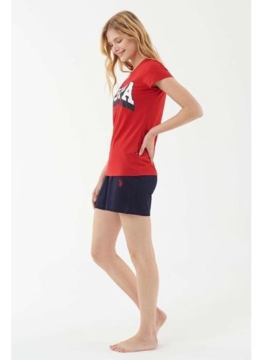 U.S. Polo Assn. Kadın T-Shirt Şort Takım Kırmızı